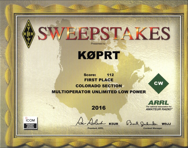 2016 ARRL CW Sweepstakes - CO 1st Place
