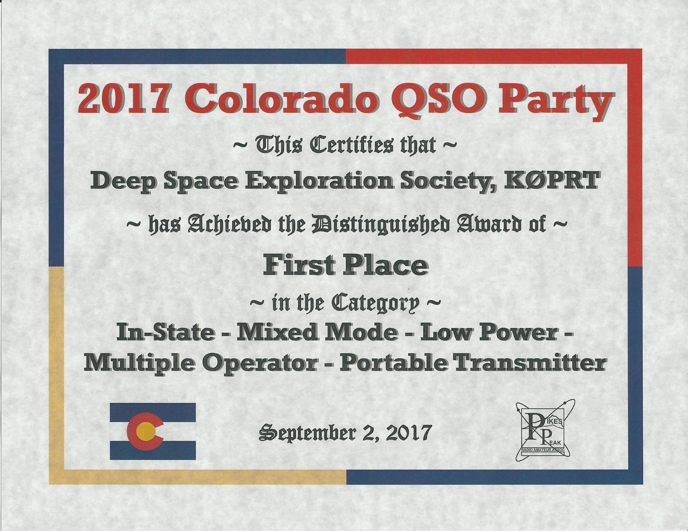 DSES Earned A First Place Award In The Ham Radio 2017 Colorado QSO K0prt Co  Qp 2017 Certificate 948 2 1st Place Certificate 1st Place Certificate  First Place Certificate