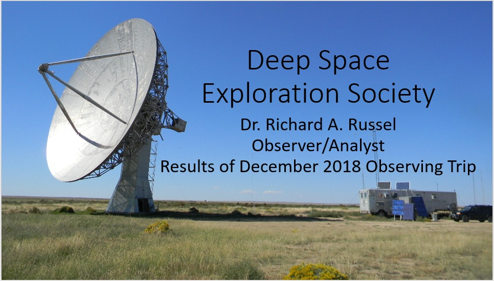 Results of December 2018 Observing Trip