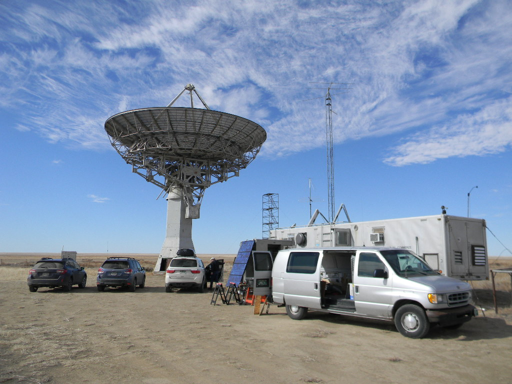 Radio astronomy observing and antenna repair at the Plishner observatory,  February 15, 2020
