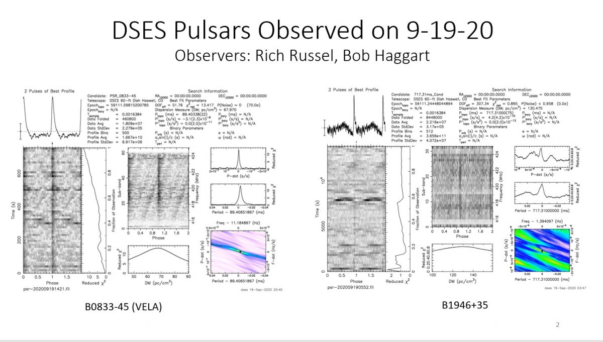 DSES Sept 19, 2020  Pulsar Observing Trip Observes 2 More Pulsars